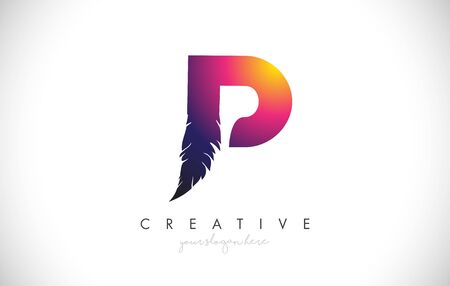 P Feather Letter Logo Icon Design With Feather Feather Creative Look Vector Illustration in Purple Magenta Colors.