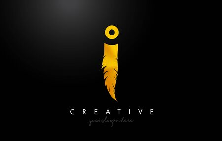 I Golden Gold Feather Letter Logo Icon Design With Feather Feather Creative Look Vector Illustration in Golden Metal Colors.