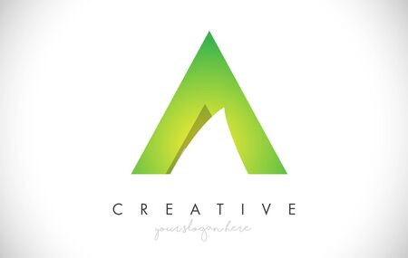 A Letter Design Icon With Paper Cut Design Creative Vector Logo Illustration in Green Colors.