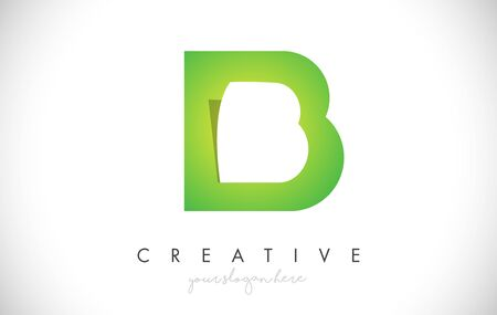 B Letter Design Icon With Paper Cut Design Creative Vector Logo Illustration in Green Colors. Ilustrace
