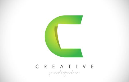 C Letter Design Icon With Paper Cut Design Creative Vector Logo Illustration in Green Colors.