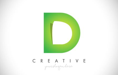 D Letter Design Icon With Paper Cut Design Creative Vector Logo Illustration in Green Colors.