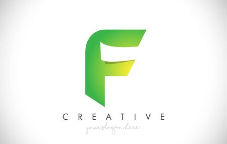F Letter Design Icon With Paper Cut Design Creative Vector Logo Illustration in Green Colors.