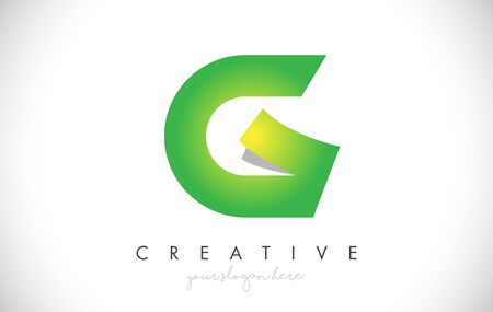 G Letter Design Icon With Paper Cut Design Creative Vector Logo Illustration in Green Colors.