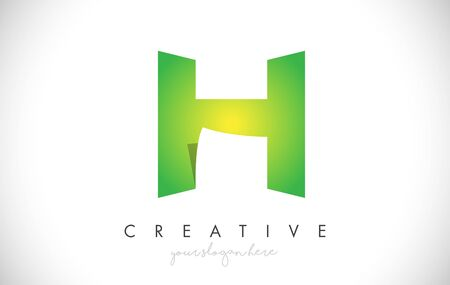 H Letter Design Icon With Paper Cut Design Creative Vector Logo Illustration in Green Colors.