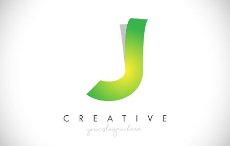 J Letter Design Icon With Paper Cut Design Creative Vector Logo Illustration in Green Colors.