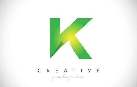 K Letter Design Icon With Paper Cut Design Creative Vector Logo Illustration in Green Colors.