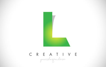 L Letter Design Icon With Paper Cut Design Creative Vector Logo Illustration in Green Colors.