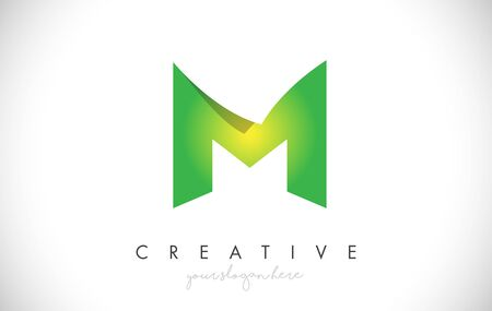 M Letter Design Icon With Paper Cut Design Creative Vector Logo Illustration in Green Colors. Ilustrace