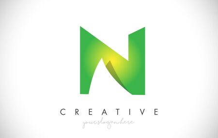 N Letter Design Icon With Paper Cut Design Creative Vector Logo Illustration in Green Colors. Ilustrace
