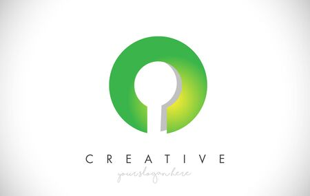 O Letter Design Icon With Paper Cut Design Creative Vector Logo Illustration in Green Colors.