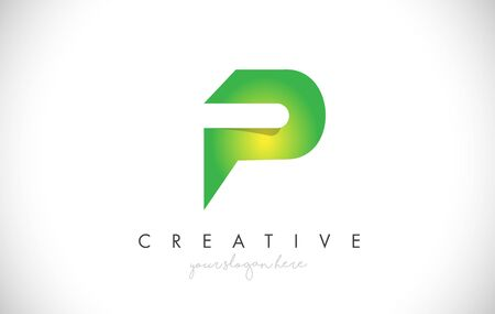 P Letter Design Icon With Paper Cut Design Creative Vector Logo Illustration in Green Colors.