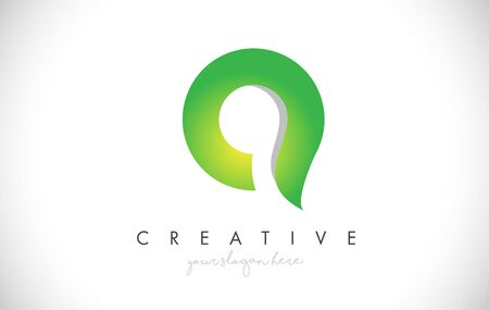 Q Letter Design Icon With Paper Cut Design Creative Vector Logo Illustration in Green Colors.
