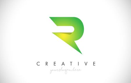 R Letter Design Icon With Paper Cut Design Creative Vector Logo Illustration in Green Colors.