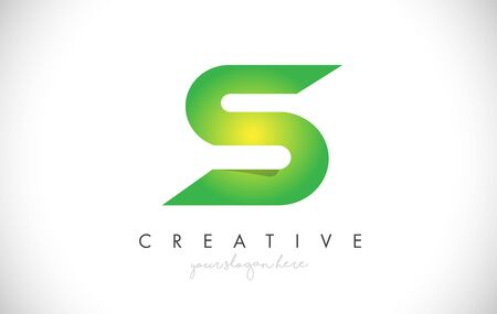 S Letter Design Icon With Paper Cut Design Creative Vector Logo Illustration in Green Colors.