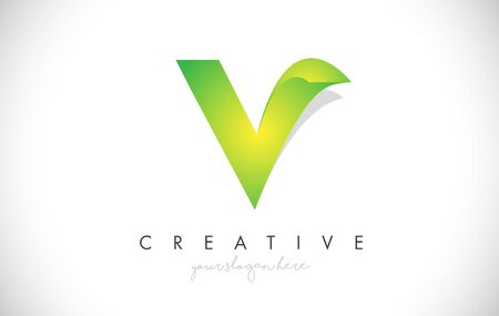 V Letter Design Icon With Paper Cut Design Creative Vector Logo Illustration in Green Colors.