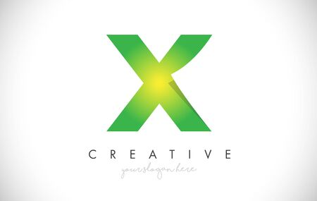 X Letter Design Icon With Paper Cut Design Creative Vector Logo Illustration in Green Colors. Ilustrace