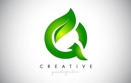 Q Leaf Letter Logo Icon Design in Green Colors. Eco Bio Letter Design Vector Illustration. Ilustracja