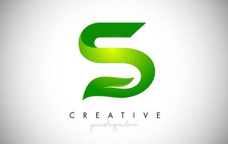 S Leaf Letter Logo Icon Design in Green Colors. Eco Bio Letter Design Vector Illustration.