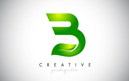 Creative B Leaf Letter Logo Icon Design in Green Colors. Eco Bio Letter Design Vector Illustration.