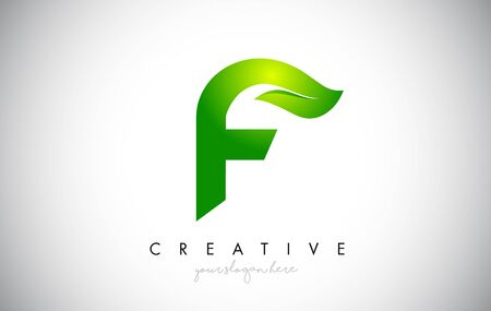 F Leaf Letter Logo Icon Design in Green Colors. Eco Bio Letter Design Vector Illustration.