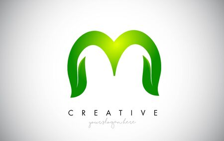 M Leaf Letter Logo Icon Design in Green Colors. Eco Bio Letter Design Vector Illustration.