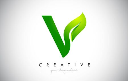 V Leaf Letter Logo Icon Design in Green Colors. Eco Bio Letter Design Vector Illustration.