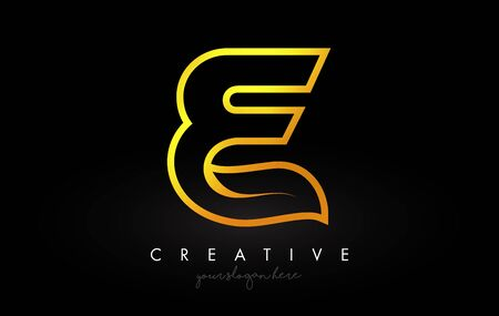 Letter E Golden Monogram Leaf Logo Icon Design with Gold Yellow Colors Vector Illustration. Ilustracja