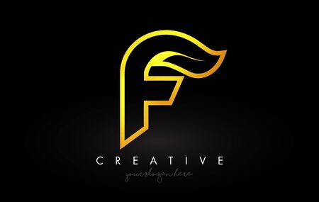 Letter F Golden Monogram Leaf Logo Icon Design with Gold Yellow Colors Vector Illustration. Ilustracja