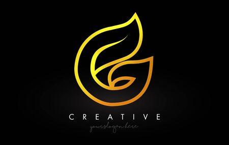 Lettre G Golden Monogram Leaf Logo Icon Design avec Illustration vectorielle de couleurs jaune or.