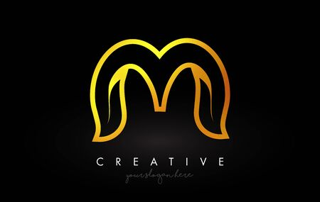 Letter M Golden Monogram Leaf Logo Icon Design with Gold Yellow Colors Vector Illustration.