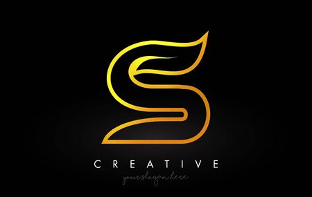 Letter S Golden Monogram Leaf Logo Icon Design with Gold Yellow Colors Vector Illustration.