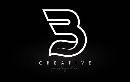Letter B Monogram Leaf Logo Icon Design with Black and White Colors Vector Illustration. Ilustracja