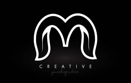 Letter M Monogram Leaf Logo Icon Design with Black and White Colors Vector Illustration. Ilustracja