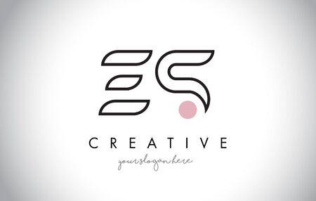 ES Letter Logo Design with Creative Modern Trendy Typography and Black Colors. Ilustração