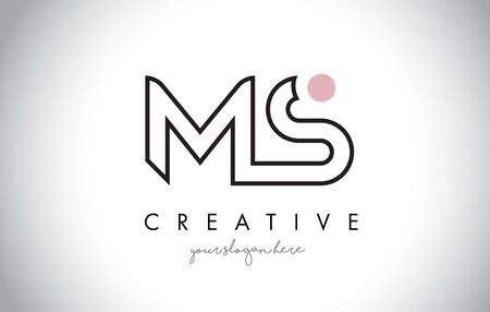 MS Letter Logo Design with Creative Modern Trendy Typography and Black Colors.