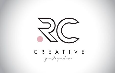 RC Letter Logo Design with Creative Modern Trendy Typography and Black Colors.
