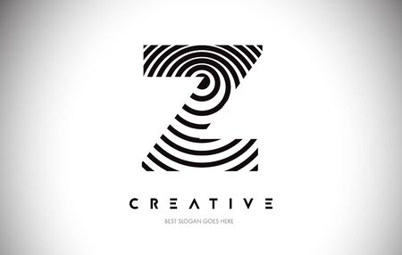 Z Lines Warp Logo Design.Vector Letter Icon Made with Circular Lines.