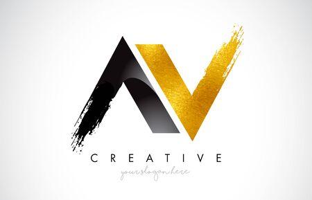AV Letter Design with Brush Stroke and Modern 3D Look Vector Illustration. Stock Vector - 134181546