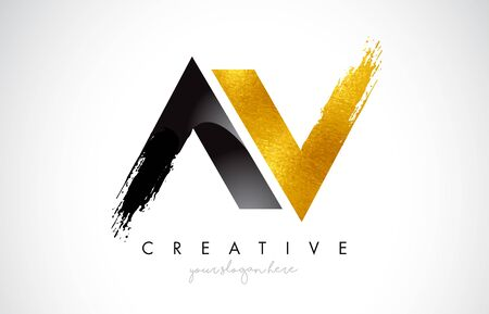 AV Letter Design with Brush Stroke and Modern 3D Look Vector Illustration. Illustration