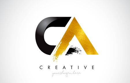 CA Letter Design with Brush Stroke and Modern 3D Look Vector Illustration.