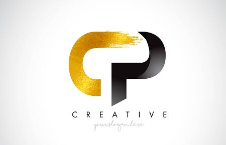 CP Letter Design with Brush Stroke and Modern 3D Look Vector Illustration. 矢量图像