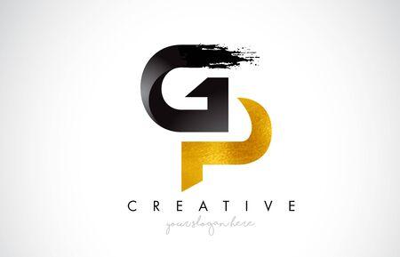 GP Letter Design with Brush Stroke and Modern 3D Look Vector Illustration. Vektoros illusztráció