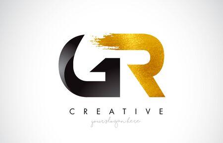 GR Letter Design with Brush Stroke and Modern 3D Look Vector Illustration. Ilustração