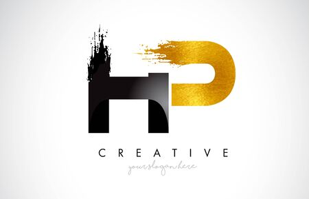HP Letter Design with Brush Stroke and Modern 3D Look Vector Illustration.
