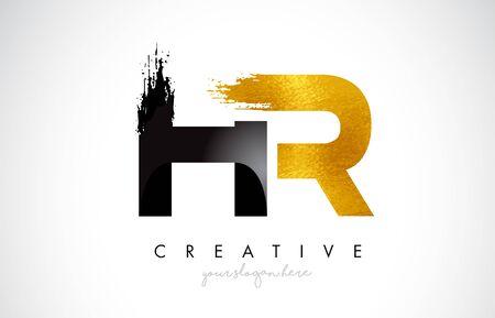 HR Letter Design with Brush Stroke and Modern 3D Look Vector Illustration.
