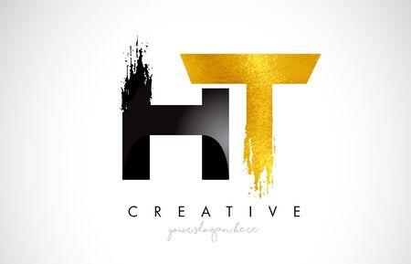 HT Letter Design with Brush Stroke and Modern 3D Look Vector Illustration.