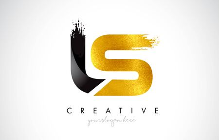 LS Letter Design with Brush Stroke and Modern 3D Look Vector Illustration.