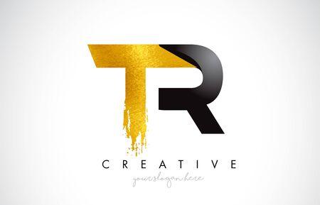 TR Letter Design with Brush Stroke and Modern 3D Look Vector Illustration. Vektoros illusztráció