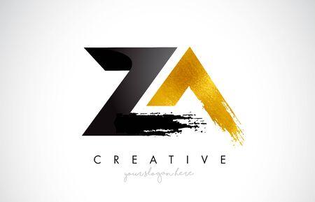 ZA Letter Design with Brush Stroke and Modern 3D Look Vector Illustration.